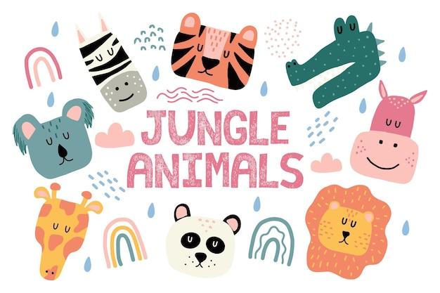 정글 동물의 어린이 handdrawn 세트