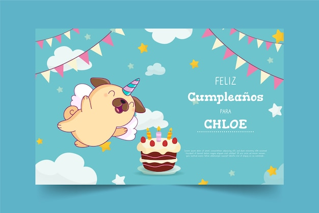 Childrens happy birthday greeting card
