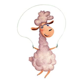 Детская иллюстрация с ягненком, прыгающим на веревке