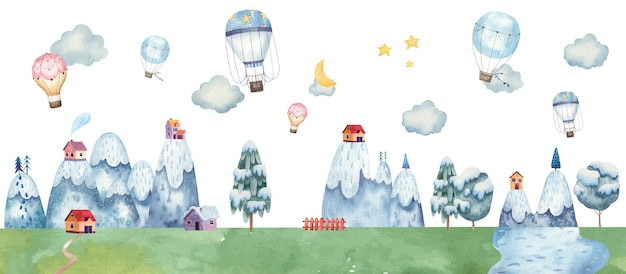 Childrens illustration with balloons, mountain landscape, trees, forest, houses in the mountains, clouds, watercolor illustration pastel gentle colors
