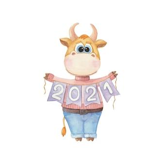 白い背景の上の年の雄牛のシンボルと子供のイラスト