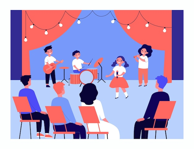 Childrens music group performing on stage. kids singing, playing guitar, drums and pipe in front of audience flat vector illustration. performance, artists, celebration concept