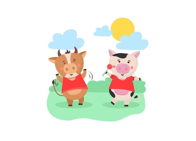 Детский новый календарь на год быка, животного, быка, коровы, китайский год иероглиф
