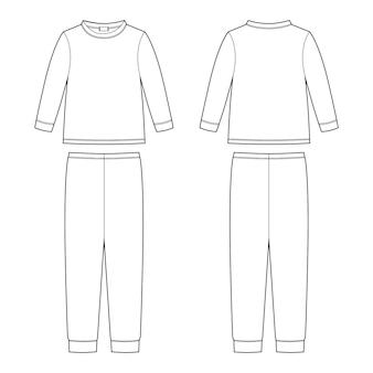 Childrens pajamas technical sketch. cotton sweatshirt and pants. kids nighwear design template