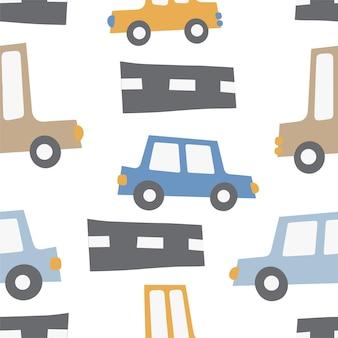 자동차와 어린이 패턴 자동차 교통도로 handdrawn 색상 원활한 패턴 자동차