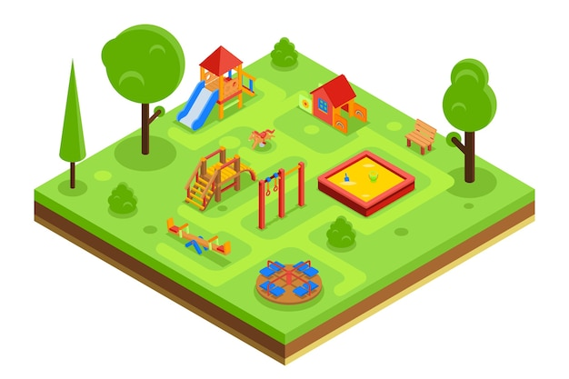 Childrens playground in isometric flat style. kindergarden with sandpit carousel bench. vector illustration