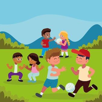 Дети играют в парке мультфильм