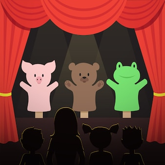 Childrens puppet theater performance with animals actors and kids audience  illustration