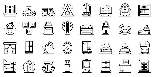 Childrens room icons set