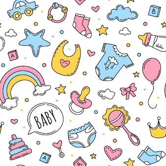 Childrens seamless pattern with clothes for kids
