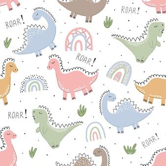 Детский бесшовный образец с динозаврами