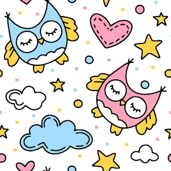 Childrens seamless pattern with owls and clouds
