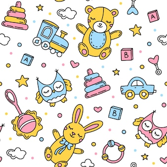 Childrens seamless pattern with toys and animals
