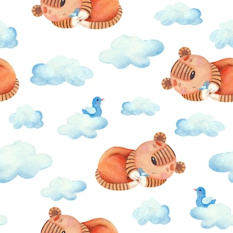 Childrens seamless watercolor pattern with tiger cubs birds and clouds