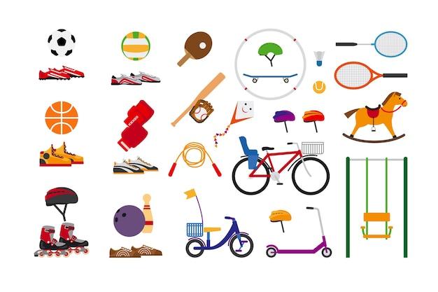 楽しさとレジャーのための子供のスポーツ用品。ボールと凧の飛行、スケートとボウリング、縄跳びとバドミントン、スクーターとブランコ、ローラーと自転車、卓球とバレーボール