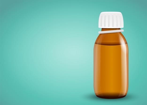 Детский сироп от температуры. стеклянная бутылка с лекарствами.