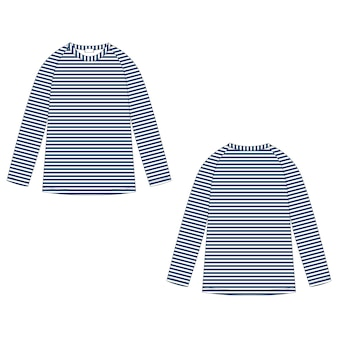 Childrens technical sketch navy blue stripe raglan sweatshirt isolated on white background. kids wear jumper design template. front and back view.