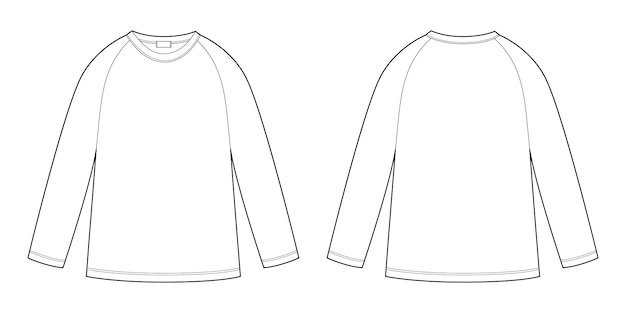 Childrens technical sketch raglan sweatshirt. kids wear jumper design template isolated on white background.