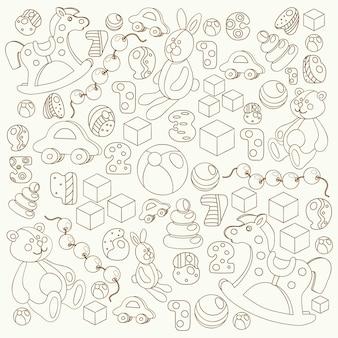 子供のおもちゃのシルエット漫画スタイルのテディベア、ロッキングホース、ウサギ、おもちゃのブロックと文字