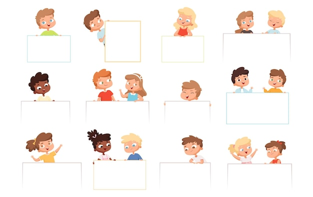 Childrens with banners. kids holding blank white frames happy boys and girls vector cartoon characters. illustration childhood boy and girl with paper billboard