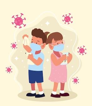 의료용 마스크와 스프레이를 착용 한 어린이