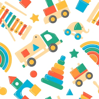 Childrens wooden toys. educational logic toys for preschoolers seamless pattern