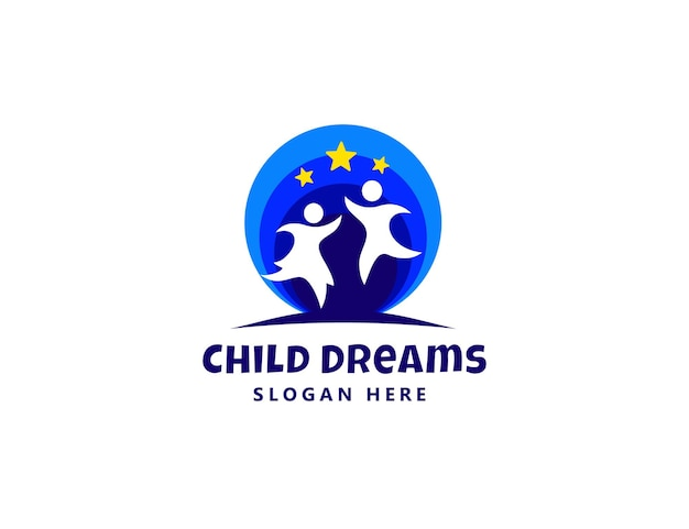 Childs dream play kids education logo design template