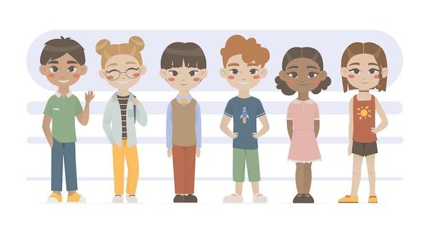 フラットスタイルで設定された子供たち