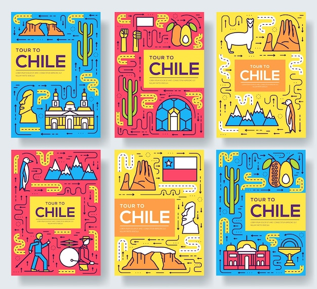 Chile  brochure cards thin line set. country travel template of flyear, book cover, banners.