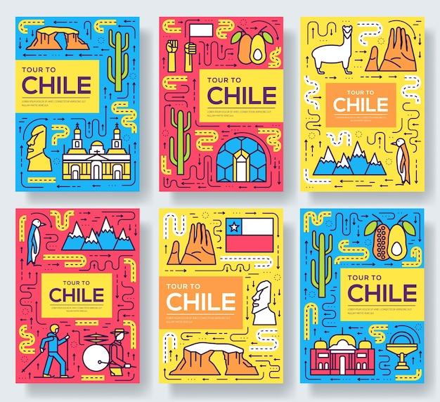 Набор тонкой линии карты брошюры чили. шаблон путешествия страны flyear, обложка книги, баннеры.