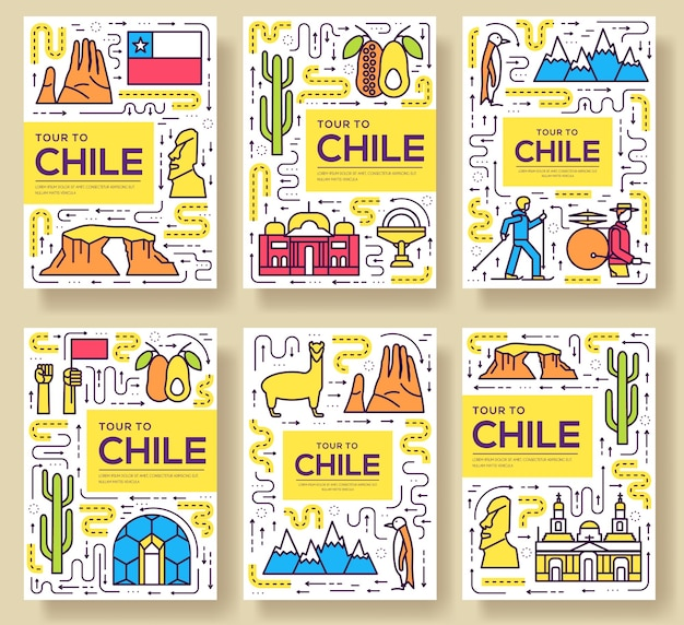 Chile cards thin line set illustration