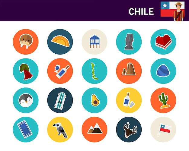 Chile concept flat icons