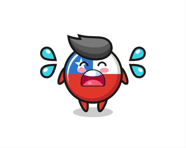 우는 제스처, 티셔츠, 스티커, 로고 요소를 위한 귀여운 스타일 디자인이 있는 칠레 국기 배지 만화 그림