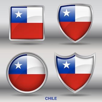 Флаг чили скос 4 формы значок
