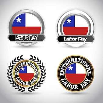 Chile flag labour day design vector