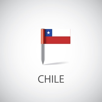Chile flag pin on white background