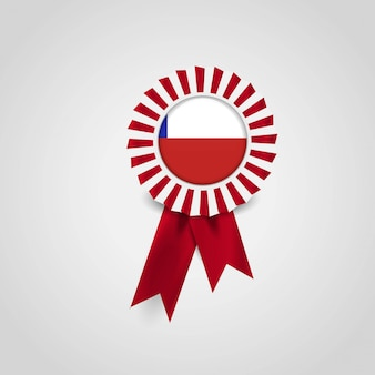 Chile flag ribbon banner badge
