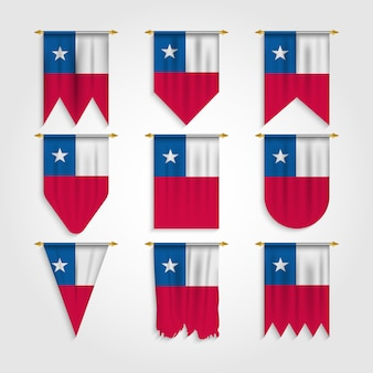 Chile flag in various shape