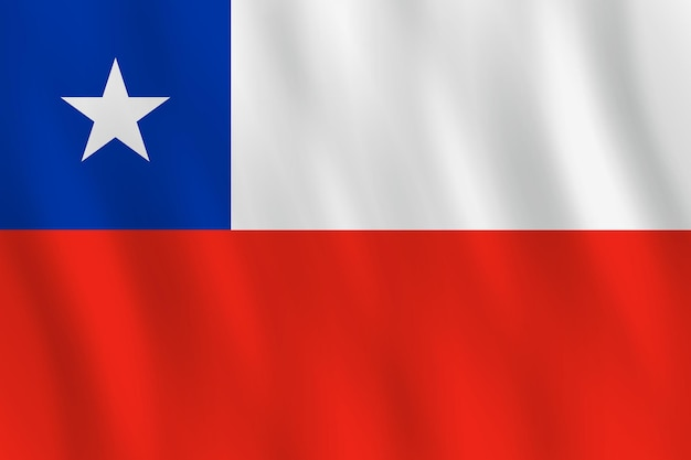 Chile flag with waving effect, official proportion.
