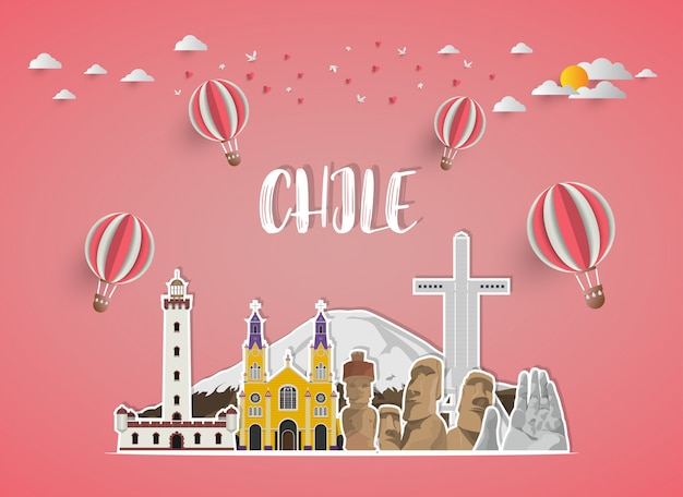 Chile landmark global travel and journey paper background.