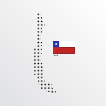 Chile map design with flag and light background vector