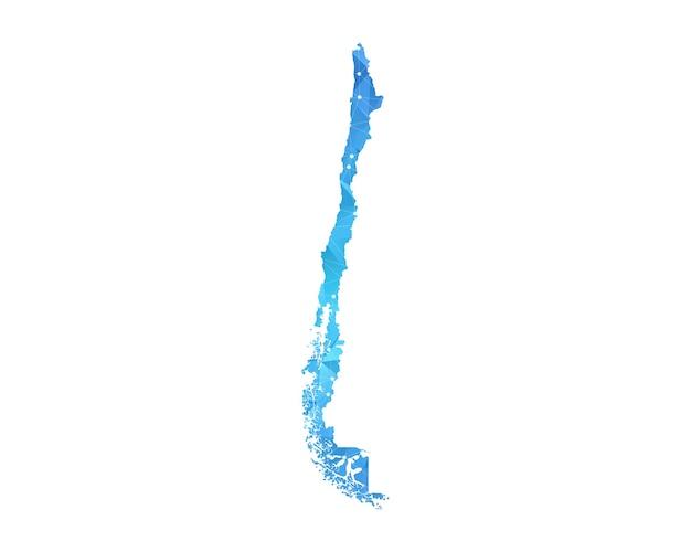 チリの地図の線の点多角形の抽象的な幾何学。