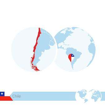 칠레의 국기와 지역 지도가 있는 세계 세계의 칠레. 벡터 일러스트 레이 션.