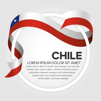 Chile ribbon flag, vector illustration on a white background