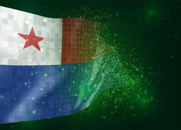 Chile, on vector 3d flag on green background with polygons and data numbers