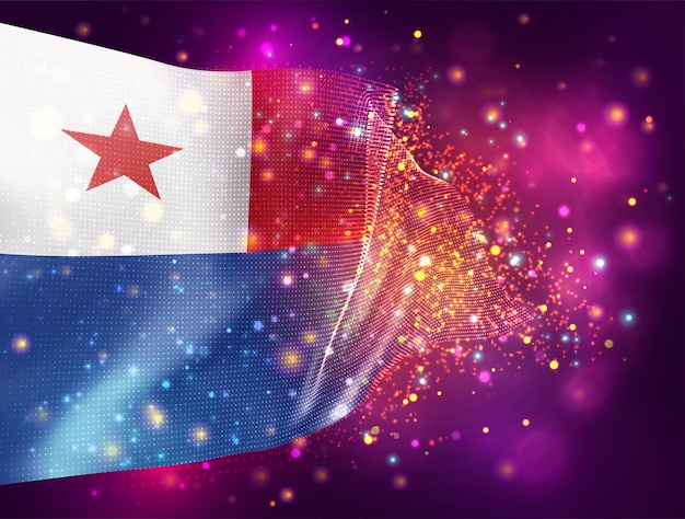 Chile, vector 3d flag on pink purple background with lighting and flares