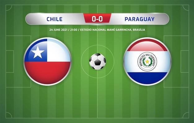 칠레 대 파라과이 스코어보드 방송 축구 남미 토너먼트 2021