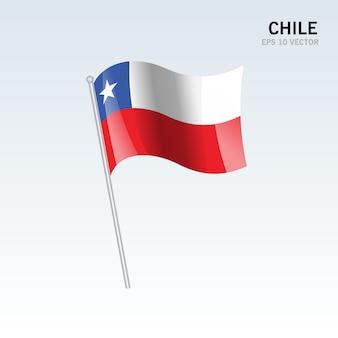 Чили развевающийся флаг, изолированных на сером фоне