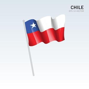 회색에 고립 된 깃발을 흔들며 칠레