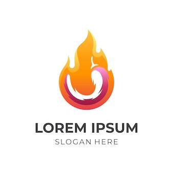 唐辛子と火のロゴのテンプレート